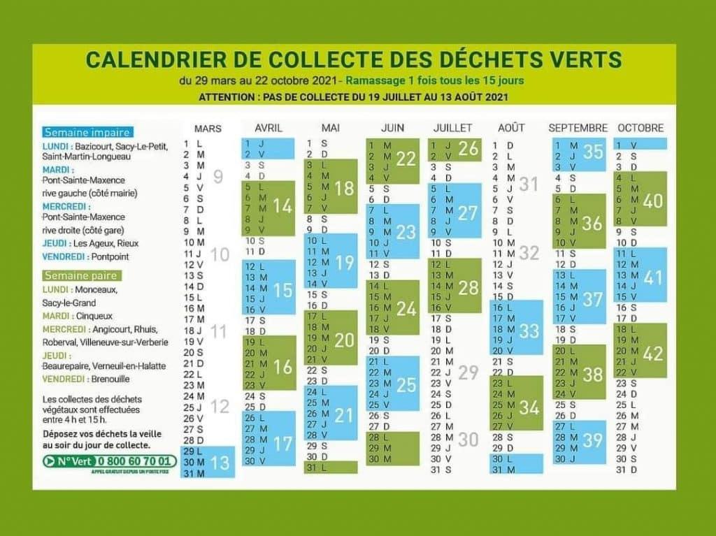 calendrier collecte déchets verts 2021